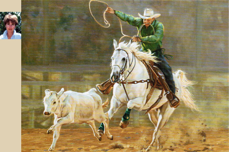 Christine Picavet (portrait en médaillon) – Reasons du run (peinture à l'huile) © DR