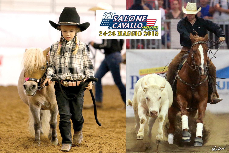 Toute jeune cowgirl et Giovanni Campanaro & Hot As Wasabi (2018 ERCHA Derby Open Champions) © Salone del Cavallo Americano