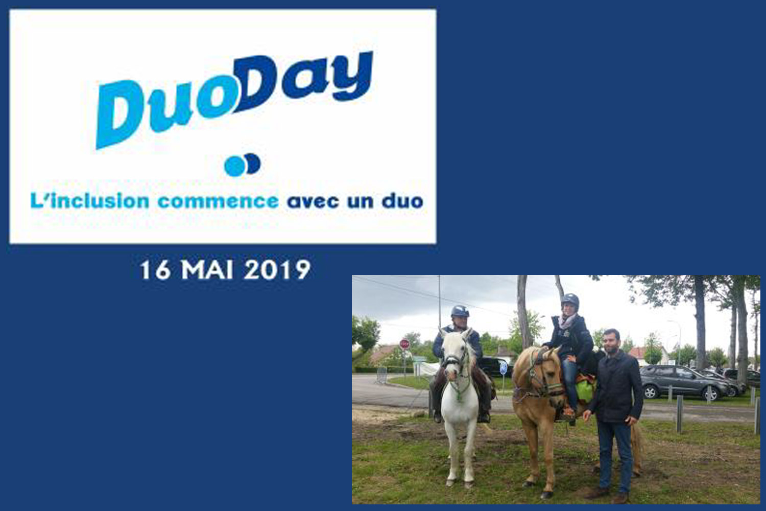 Aurélie Brihmat et son père accompagnés de Frédéric Bouix,  délégué général de la FFE, à leur arrivée à Lamotte-Beuvron (41). ©DR