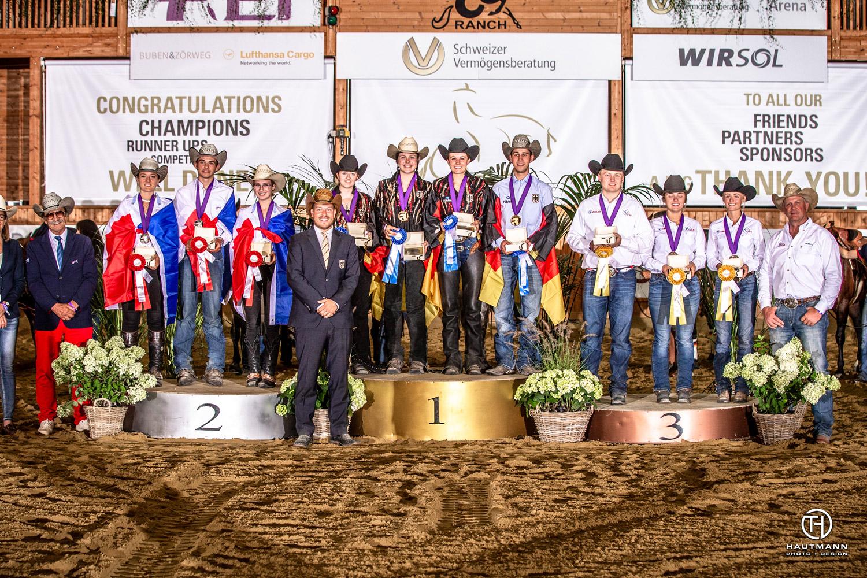 Le podium du championnat du monde Jeunes cavaliers. ©FEI / Hautmann