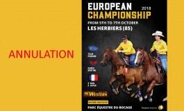 Attention : annulation du championnat d'Europe de Ranch Sorting et 3 Man 2 Gate